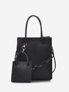 2Pcs Rectangle Chain Tote Bag Set - Black