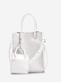 2Pcs Rectangle Chain Tote Bag Set - White