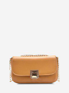 Metal Hasp Cover Chain Crossbody Bag - Sun Yellow