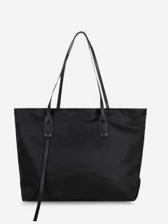 PU Solid Tote Shoulder Bag - Black