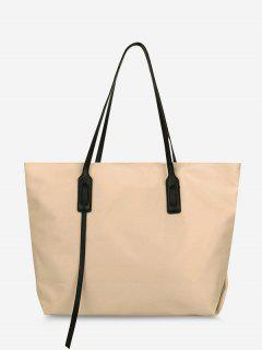 PU Solid Tote Shoulder Bag - Light Khaki