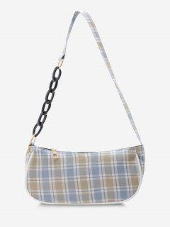 Plaid Half Chain Shoulder Bag - Light Blue
