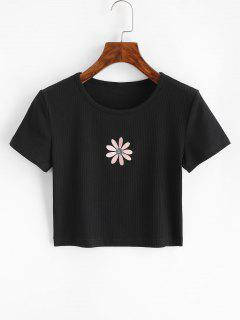 Ribbed Flower Embroidered Baby Tee - Black S
