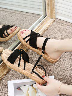 Criss Cross Strappy Slides Sandals - Black Eu 38
