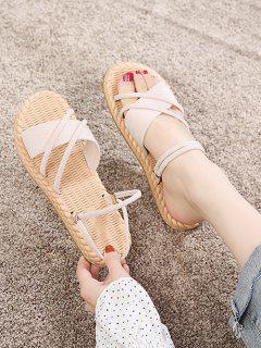Criss Cross Strappy Slides Sandals - Warm White Eu 39