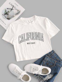 California Graphic Crop T-Shirt - Weiß M