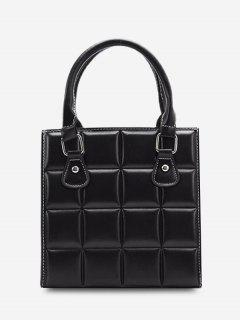 Retro Square Quilted Tote Bag - Black
