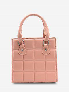 Retro Square Quilted Tote Bag - Pink