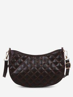 Retro Quilted Solid Crossbody Bag - Deep Brown