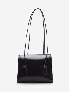 Retro Square Cover Shoulder Bag - Black