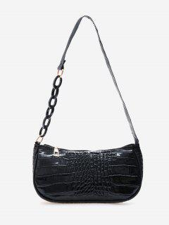 Half Chain Embossed Shoulder Bag - Black