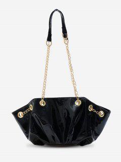 Pleated Chain Shoulder Bag - Black