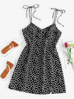 ZAFUL Ditsy Print Slit Tie Shoulder Mini Dress - Black M