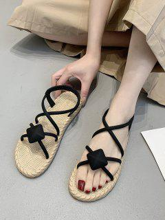 Rhombus Criss Cross Flat Sandals - Black Eu 40
