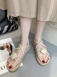 Rhombus Criss Cross Flat Sandals - Warm White Eu 40