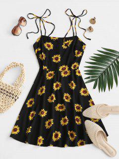 Mini Vestido De Flores Con Nudo En Hombros Al Aire - Negro S