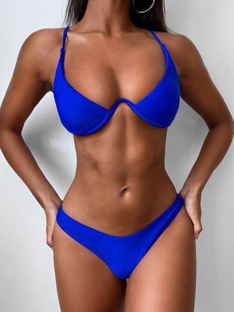 chic Push Up Plunge Bathing Suit - BLUE L Mobile