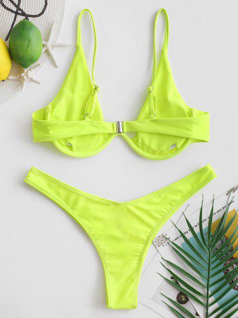 Costume Da Bagno Push-Up Con Scollo Profondo - Verde Giallo M Mobile