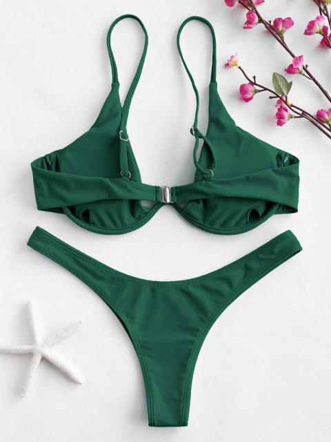 affordable Push Up Plunge Bathing Suit - MEDIUM SEA GREEN S Mobile