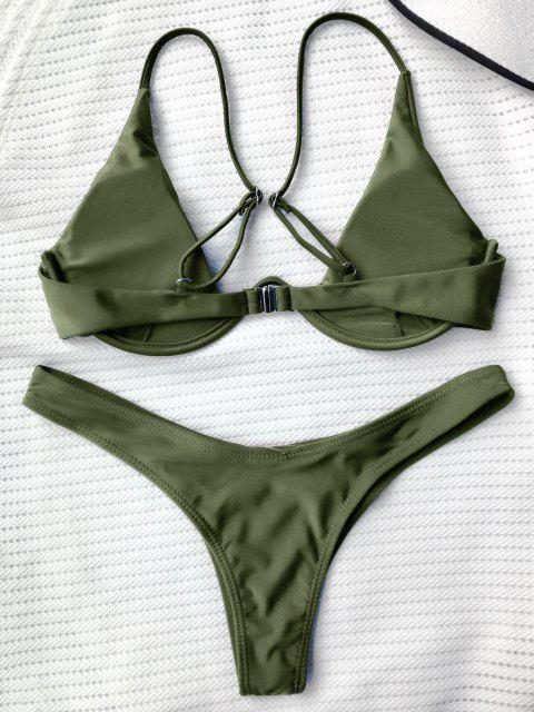 best Push Up Plunge Bathing Suit - GREEN L Mobile