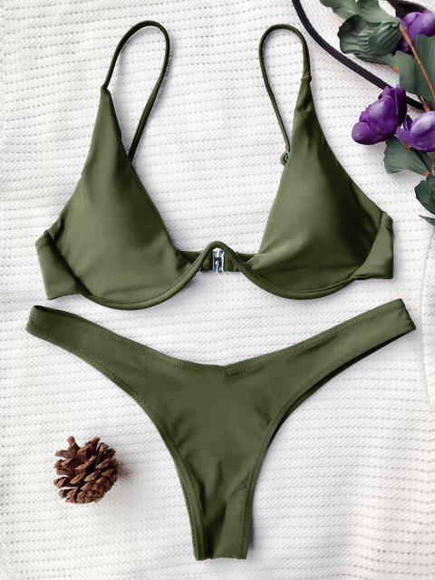 new Push Up Plunge Bathing Suit - GREEN S Mobile