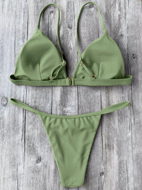 women Spaghetti Straps Plunge Thong Bikini Set - GREEN S Mobile