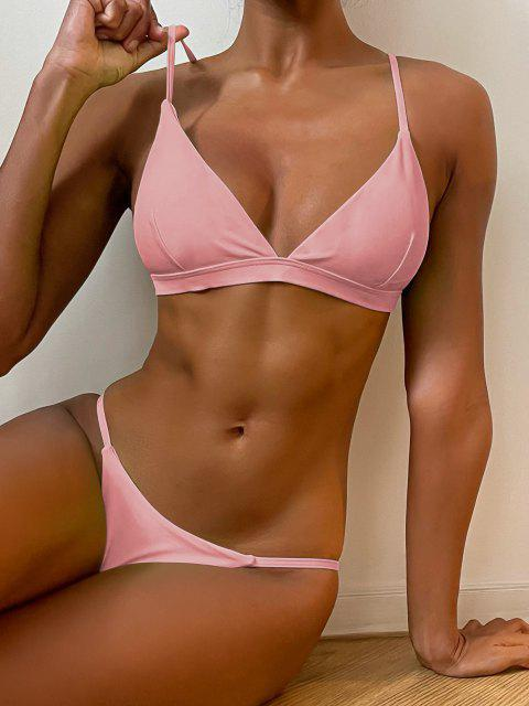 Ensemble de Bikini Plongeant à Bretelle Fine - Rose  L Mobile
