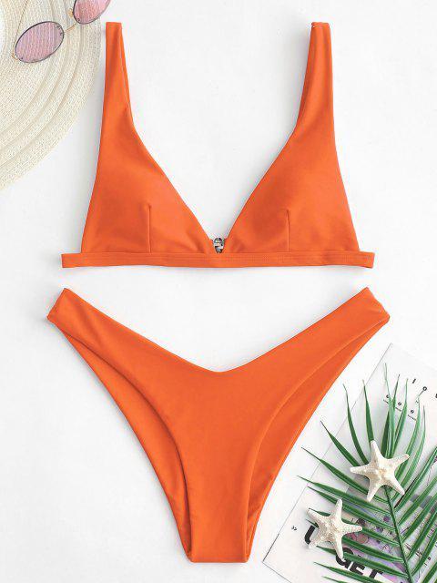 ZAFUL Bikini con Escote Alto - Naranja de Calabaza  M Mobile