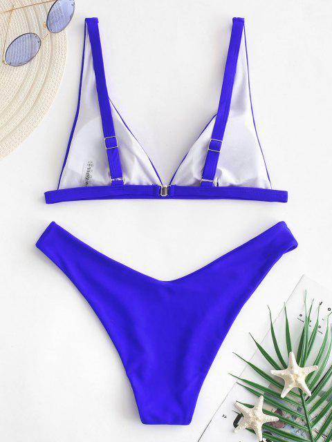 ZAFUL Hochgeschnittener Neon-Bikini -Badeanzug - Kobaltblau M Mobile
