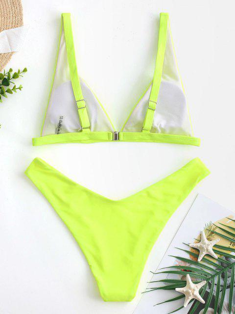 Costume da Bagno Bikini con Taglio Alto di ZAFUL - Verde Giallo M Mobile