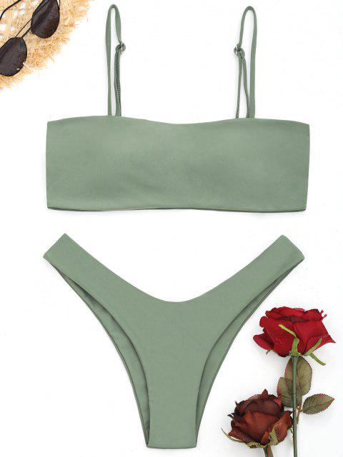 women's High Cut Cami Bikini Set - PEA GREEN S Mobile