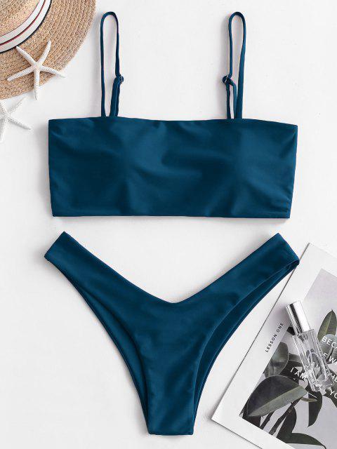 online High Cut Cami Bikini Set - PEACOCK BLUE M Mobile