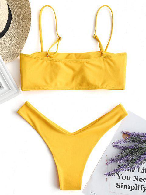 womens High Cut Cami Bikini Set - YELLOW M Mobile