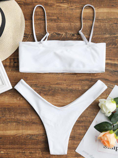 unique High Cut Cami Bikini Set - WHITE M Mobile