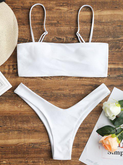 affordable High Cut Cami Bikini Set - WHITE S Mobile