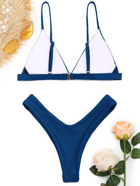 fashion Soft Pad Spaghetti Straps Thong Bikini Set - LAPIS BLUE L Mobile