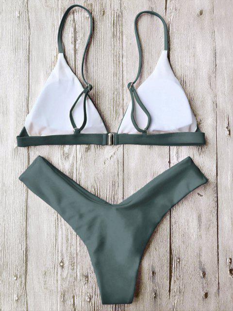 lady Soft Pad Spaghetti Straps Thong Bikini Set - GREEN M Mobile