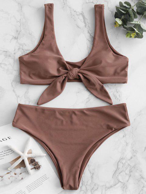 Bikini Acolchado Delantero con Lazo ZAFUL - Brown Rosa  M Mobile