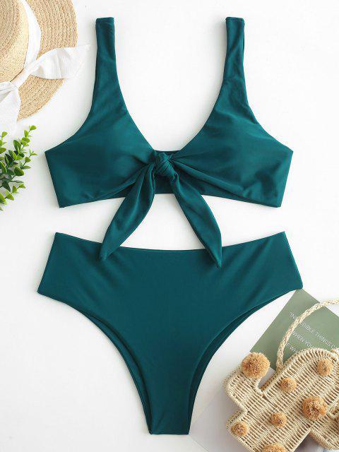 women's ZAFUL Tie Front Padded Bikini Set - PEACOCK BLUE S Mobile