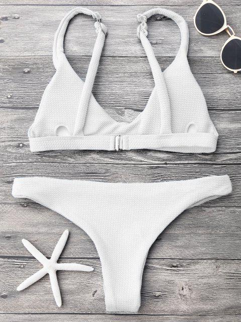 Gepolstertes Scoop-Bikini-Set mit Niedriger Taille - Weiß L Mobile