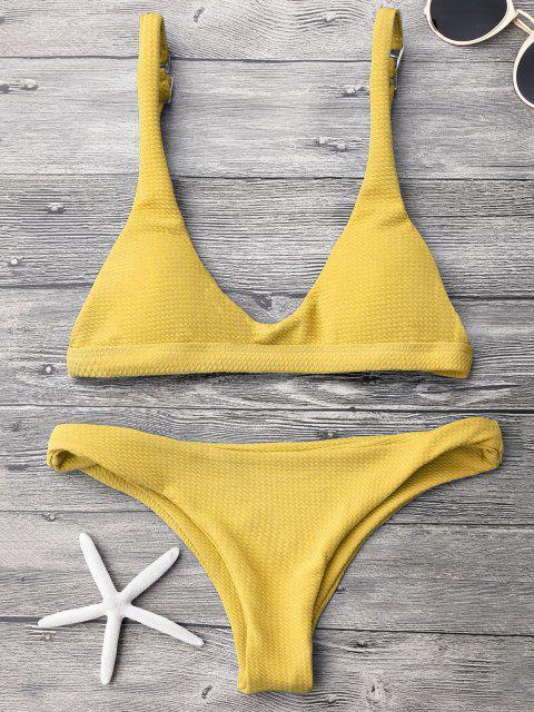 Gepolstertes Scoop-Bikini-Set mit Niedriger Taille - Gelb L Mobile