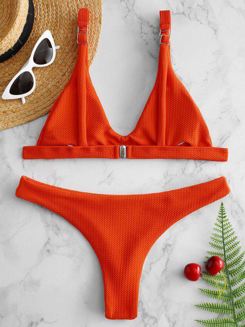 Gepolstertes Scoop-Bikini-Set mit Niedriger Taille - Leuchtend Orange L Mobile