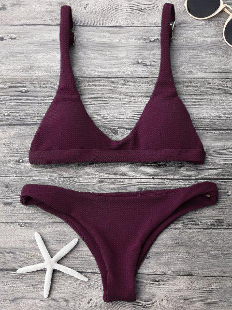Gepolstertes Scoop-Bikini-Set mit Niedriger Taille - Merlot L Mobile