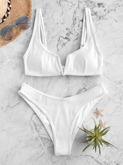 ZAFUL Maillot de Bain Bikini Côtelé à Armature en V - Blanc L Mobile