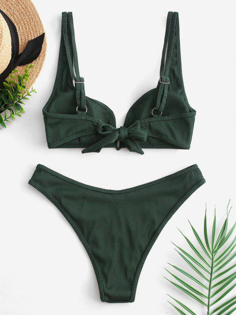 ladies ZAFUL Piping V-wired Ribbed Bikini Swimsuit - MEDIUM FOREST GREEN S Mobile