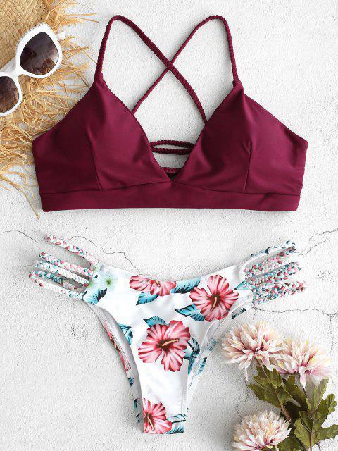 Bikini trenzado de flores con cordones ZAFUL - Vino Tinto M Mobile