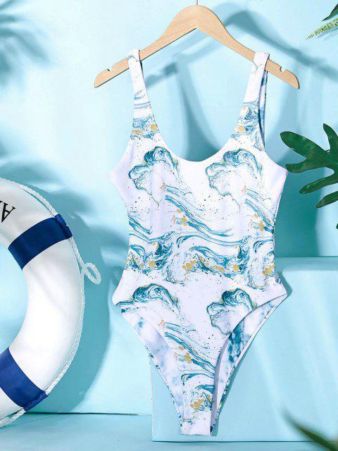 womens ZAFUL Ocean Print Reversible One-piece Swimsuit - LIGHT SEA GREEN M Mobile
