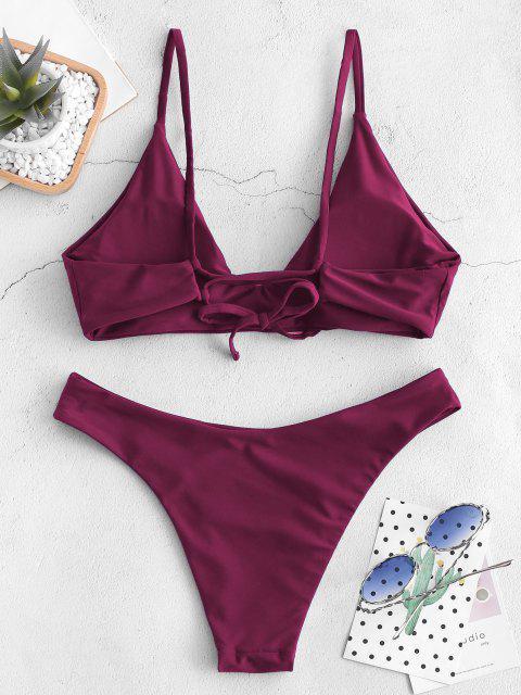 ZAFUL Krawatte -Bralette -Bikini -Set - Kastanienbraun L Mobile