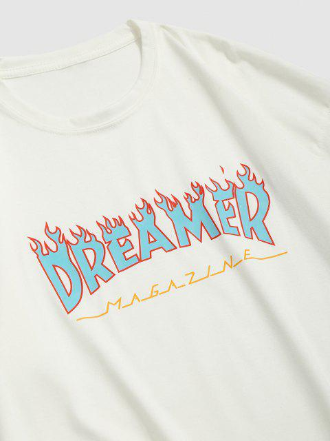 affordable Fire Dreamer Short Sleeve Basic T-shirt - WHITE L Mobile