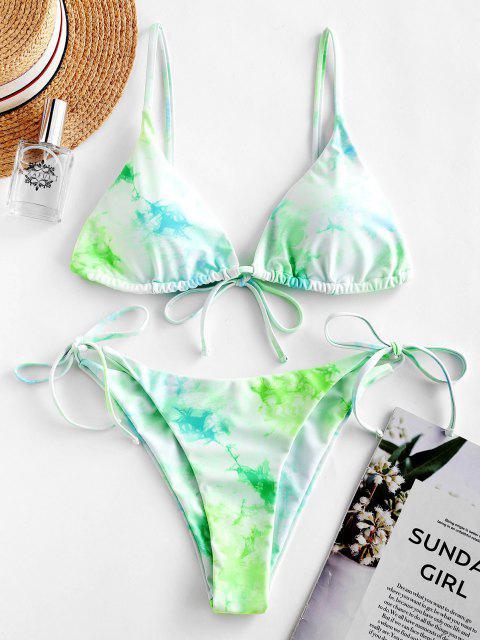ZAFUL Costume da bagno bikini stringhe cravatta colorante - Verde Alga S Mobile